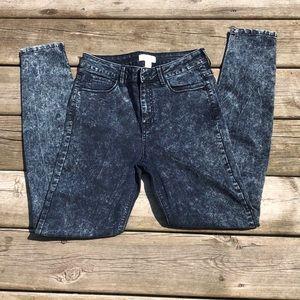 Forever 21 acid wash high waist skinny leg denim